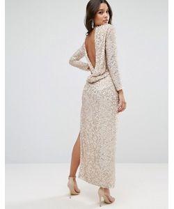Asos | Платье Миди С Отделкой Пайетками И Свободным Воротом Сзади