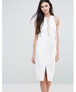 Lavish Alice | Трикотажное Платье Миди С Кружевной Отделкой Спереди