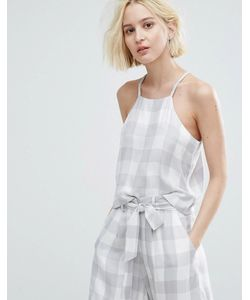 Native Youth   Cami Crop Top In Large Gingham Co-Ord