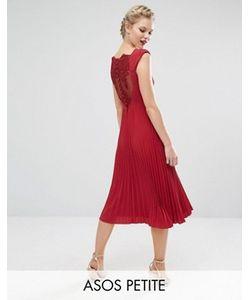 ASOS PETITE | Платье Миди С Плиссировкой И Кружевом На Спине Wedding