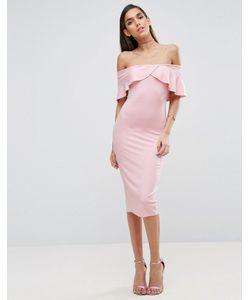 Asos | Платье Миди С Широким Вырезом И Перекрестной Отделкой Спереди