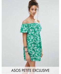 ASOS PETITE | Платье С Открытыми Плечами И Пальмовым Принтом