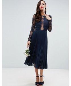 Asos | Плиссированное Платье Миди С Кружевом С Ресничками Wedding
