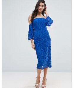 Asos | Кружевное Платье Миди Со Спущенными Плечами И Расклешенными Рукавами
