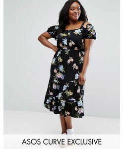 ASOS CURVE | Платье Миди С Вырезами На Плечах И Цветочным Принтом