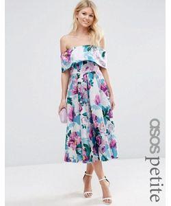 ASOS PETITE | Платье Миди Для Выпускного С Открытыми Плечами И Принтом