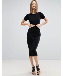 Asos | Платье Миди С Вырезами И Перекрутом Спереди