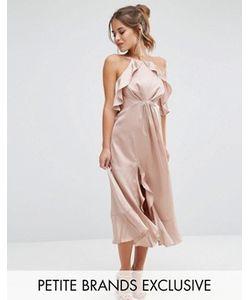 Jarlo Petite | Платье Миди С Высокой Горловиной И Рюшами