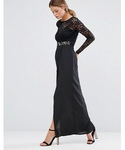 Elise Ryan | Платье Макси С Кружевной Отделкой И Высоким Разрезом