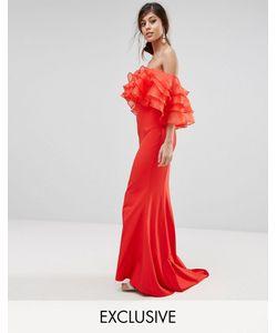 JARLO | Платье Макси С Верхом Из Органзы