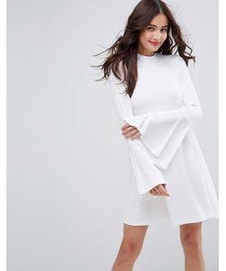 Asos | Свободное Платье В Рубчик С Высоким Воротом И Расклешенными Рукавами