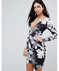 Jessica Wright   Платье С Длинными Рукавами Пальмовым Принтом И Запахом