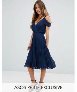 ASOS PETITE | Плиссированное Платье Миди С Кружевной Отделкой
