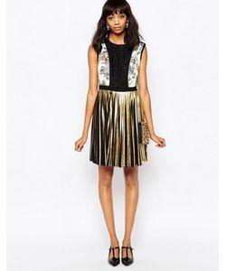 Sportmax Code | Платье Мини С Плиссированной Юбкой Цвета Металлик