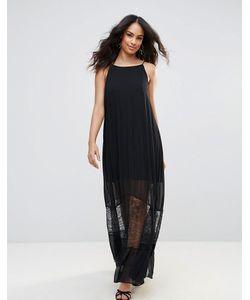 BCBGMAXAZRIA | Полупрозрачное Платье Макси С Кружевной Отделкой Bcbg