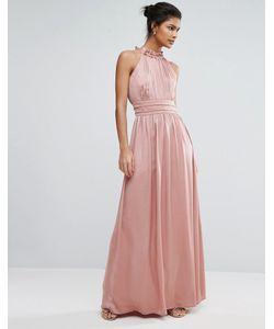 Little Mistress | Атласное Платье Макси С Высокой Горловиной