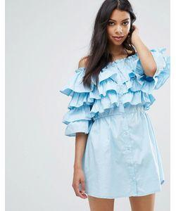 boohoo   Платье С Оборками И Открытыми Плечами