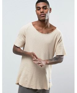 Criminal Damage | Waffle Knitted Relaxed Fit T-Shirt In Nude
