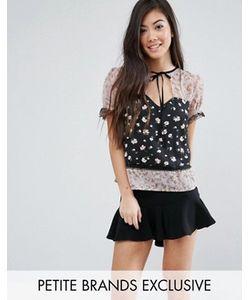 Fashion Union Petite   Блузка С Комбинированным Принтом И Кружевной Отделкой