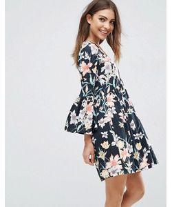 Asos | Свободное Платье С Цветочным Принтом И V-Образным Вырезом