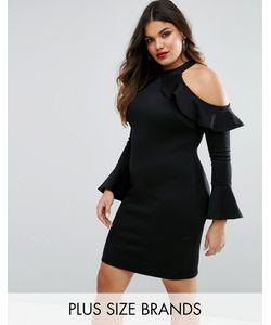 Club L Plus   Платье С Вырезами На Плечах И Расклешенными Рукавами