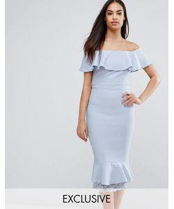 Vesper | Платье-Футляр С Открытыми Плечами Оборками И Кружевом