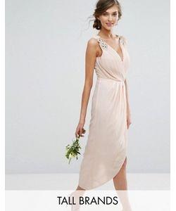 TFNC Tall | Декорированное Платье Миди С Запахом Wedding