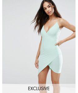 Club L | Асимметричное Платье Мини С Запахом На Тонких Бретельках