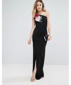 Jessica Wright | Платье Макси На Одно Плечо С Разрезом И Цветочной Аппликацией Jessica
