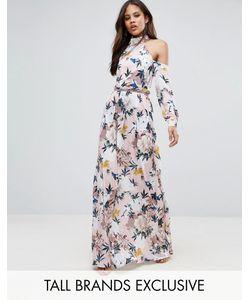 Taller Than Your Average | Платье Макси С Вырезами На Плечах Складками На Талии И Цветочным