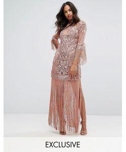 A Star Is Born | Сетчатое Платье Макси С Отделкой И Бахромой