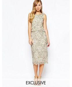 Frock and Frill | Блестящее Платье Миди 2-В-1 С Отделкой