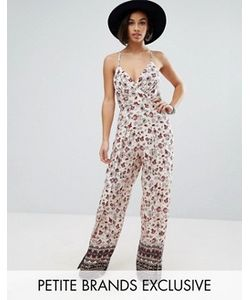 Sisters of the Tribe   Petite Printed Cami Strap Jumpsuit With Split