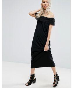 Asos | Платье Макси С Открытыми Плечами И Кружевной Отделкой