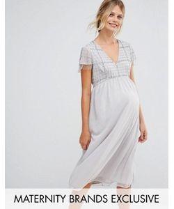 Maya Maternity | Платье Миди Для Беременных С Бахромой И Пайетками