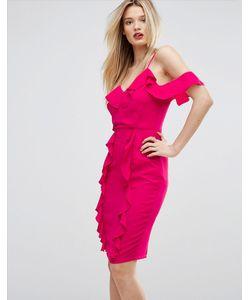 MISSGUIDED | Платье Миди С Открытыми Плечами И Оборками