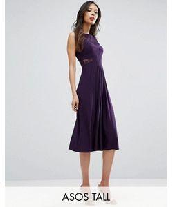 ASOS TALL | Плиссированное Трикотажное Платье Миди С Кружевом Wedding