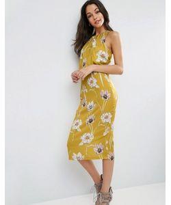 Asos | Платье Миди С Драпировкой И Цветочным Принтом