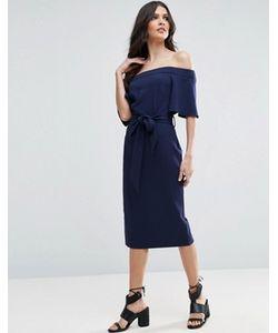 Asos | Платье Миди С Открытыми Плечами И Завязкой