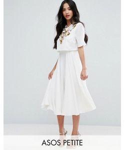 ASOS PETITE | Декорированное Приталенное Платье Миди С Кроп-Топом