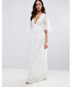 Club L | Платье Макси С Вышивкой И Запахом Спереди