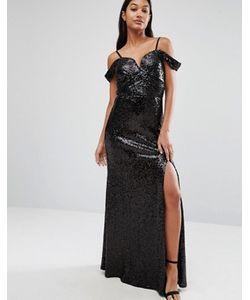 TFNC | Платье Макси С Открытыми Плечами И Отделкой Пайетками