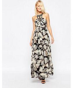 b.young | Платье Макси С Декорированной Горловиной И Принтом