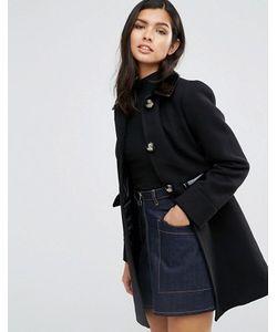 Asos | Короткое Приталенное Пальто С Контрастной Лакированной Отделкой