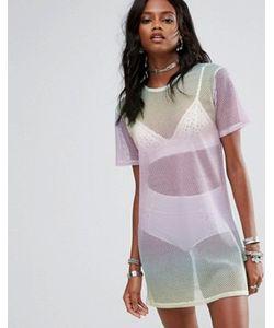 MISSGUIDED | Rainbow Fishnet T-Shirt Dress
