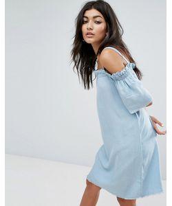 Noisy May | Платье Шамбре С Открытыми Плечами И Необработанным Краем