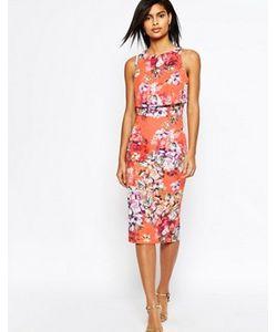 Asos | Платье-Футляр Миди С Укороченным Топом И Цветочным Принтом