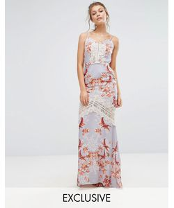 Hope and Ivy | Hope Ivy Printed Maxi Dress With Low Back And Eyelash