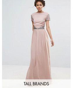 Maya Tall | Платье Макси С Короткими Рукавами И Отделкой На Талии