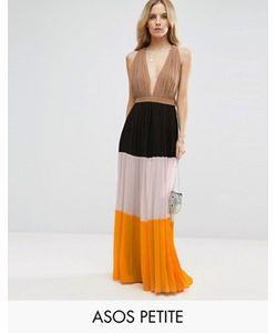 ASOS PETITE | Плиссированное Платье Макси Колор Блок С Глубоким Вырезом